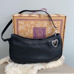 Brighton SHEILA leather purse Black Silver EUC